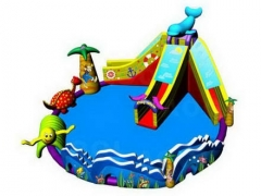 Newest designs Inflatable Water Park with Dolphin Water Slide