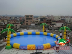 Inflatable Round Pool with Palm Trees