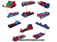 Outdoor Wipeout Inflatable Obstacle challenge game